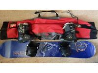 Palmer Snowboard, with bindings, boots and bag.
