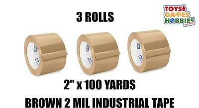 3 Rolls Of Uline 2 Mil Industrial Packing Shipping Tape 2 X 110 Yards Brown