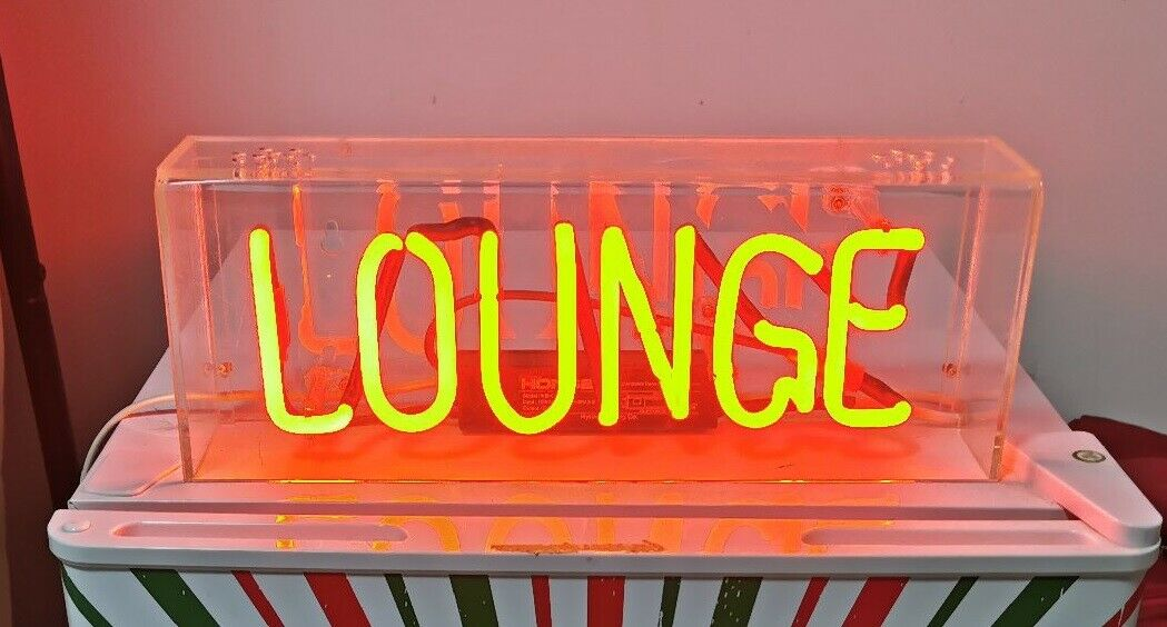"Lounge Neon Light Sign Lamp Beer Pub Acrylic 14"" Real Glass"