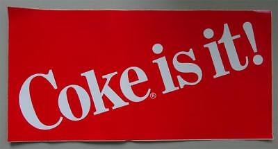 """Large Coca Cola """"Coke Is It"""" Decal  24"""" x 12""""  1980s Logo New"""