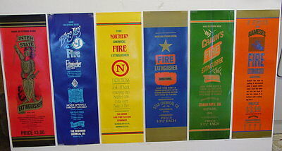 6 VINTAGE FIRE EXTINGUISHER LABELS WITH SALES BROCHURE..