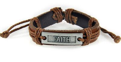 Inspirational Leather Bracelets (4030527 FAITH Leather Bracelet Christian Inspirational Scripture Jesus Bible)
