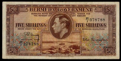 BERMUDA 5 SHILLINGS 1937 aVF KING GEORGE VI NICE BANKNOTE BRITIISH COLONY