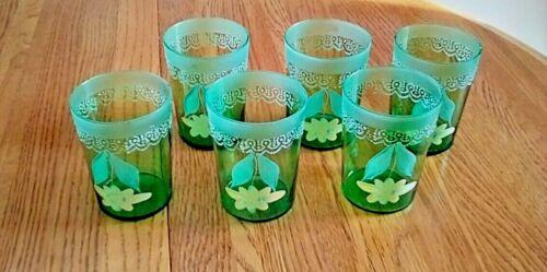 6 VINTAGE HAND BLOWN ART GLASS TUMBLERS