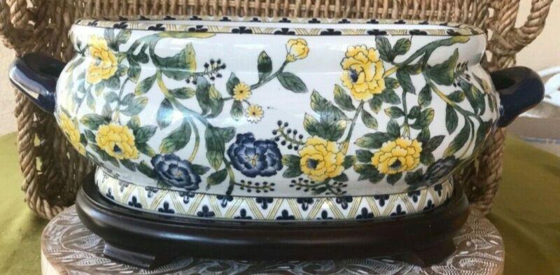 """Oriental Accent 16"""" Asian Porcelain Jardinière Oval Foot Bath Planter Floral"""