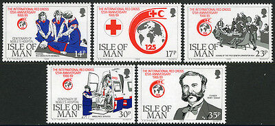 Isle of Man 403-407,MI 412-416,MNH. Intl. Red Cross, 125th ann.Henry Dunant,1989