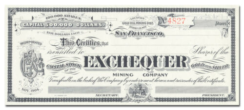 Exchequer Mining Company Stock Certificate