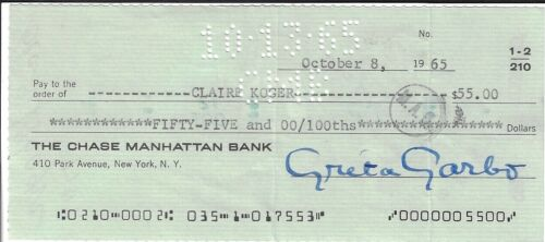 GRETA GARBO SIGNED CHECK from The Estate of Greta Garbo, FREE SHIPPING USA