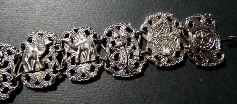 Vintage Souvenir of Maroc Bracelet Hamsa Hand Elephant Silvertone Morocco