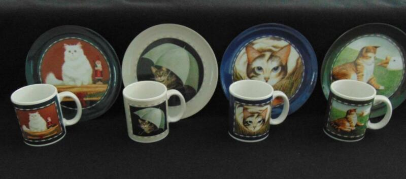 VINTAGE 1991 LOWELL HERRERO COLLECTION SET OF 4 CAT PLATES & MATCHING MUGS