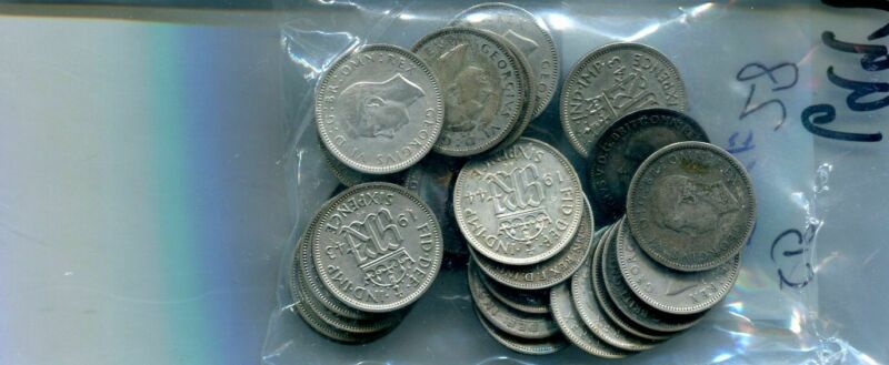 GREAT BRITAIN 6 PENCE LUCKY COIN LOT OF 28 SILVER COINS  MIXED DATES