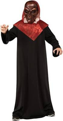 Red Venetian Demon Alien Devil Mask Costume Red Black Robe Size Boys 8-10 (Devil Costume For Boys)