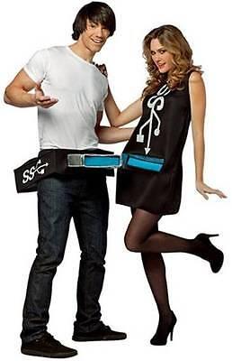USB Port & Stick Couples Funny Comic Dress Up Halloween Adult Costume 2 COSTUMES