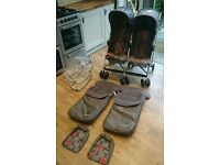 Double pram stroller Mothercare xoob2 twin pram with footmuffs and raincover