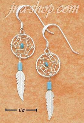 Sterling Silver Small Turquoise Dreamcatcher Earrings w/ Feather on French - Small Turquoise Dreamcatcher Earrings