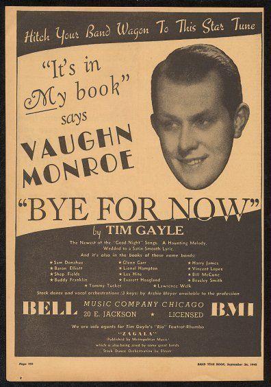 1942 Vaughn Monroe photo music trade print ad