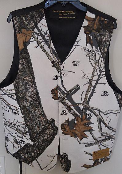 Mossy Oak Winter Brush Camo Formal Or Wedding Full Back Vest