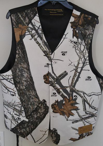 Mossy Oak Winter Brush White Camo Formal Wedding Full Back Vest Formal Sportsman