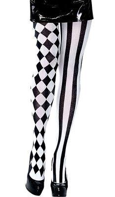 Schwarz Weiß Diamant und Gestreifte Strumpfhosen Damen Sexy - Kostüm Schwarze Und Weiße Kleid