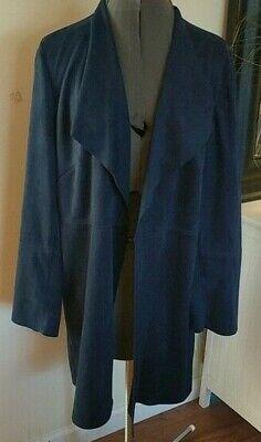 CHICOS Size 1 - Dark Blue Faux Suede Machine Wash Open Front Duster Jacket Dark Blue Faux Suede