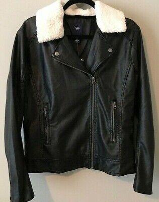 Gap Factory Vegan Leather Jacket, Size 0 True Black
