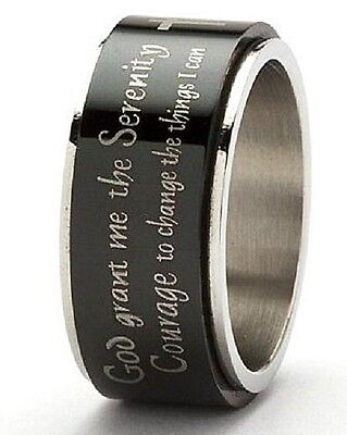 Serenity Prayer Black Spinner Ring Stainless Steel AA Cross 12 Step Aa Serenity Prayer