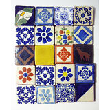 WONDERFUL SET OF 20 2x2 antique hand painted  Tala vera Tiles from estate