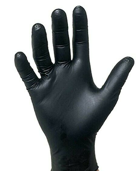 Cleaning Glove, Heavy Duty, BLACK Nitrile Powder-Free, Size L, Polybag Pack