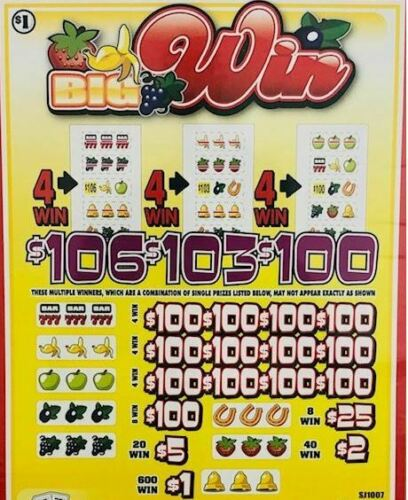 "Pull Tab Ticket ""BIG WIN"" -$1040.00 HUGE $$ PROFIT - FREE Shipping!"