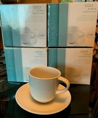Kahla Pure & Simple White Porcelain Espresso Coffee Cup & Saucer. Bundle of 4