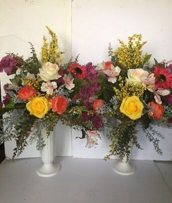 Perfect Garden Rainbow Flowers for Headstone Cemetery 2 side Urn Arrangements  (Flower Arranging For Halloween)