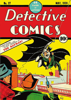 "BATMAN  1ST EDITION DETECTIVE COMIC  REPRODUCTION  METAL 8""X6"" PLAQUE"