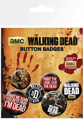 The Walking Dead Phrases Badge Pack / Pin Set BRAND NEW