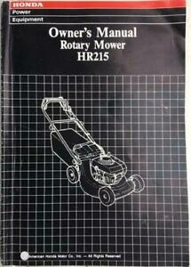 Honda HR215 Lawn Mower Owners Paperback Manual