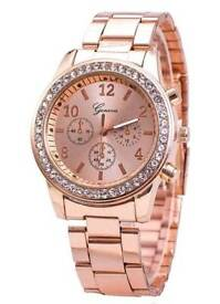 The New Fashion Lady Business Steel Quartz Diamond Wrist Watch Rose Gold