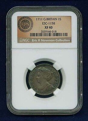 G B  England Anne  1711  1 Shilling Silver Coin Certified By Ngc Xf 40