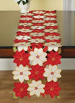 Table runner Poinsettia floral xmas party holiday Christmas decoration  70 x 13