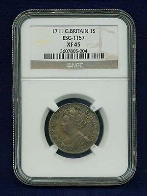 G B  England Anne  1711  1 Shilling Silver Coin Certified By Ngc Xf 45