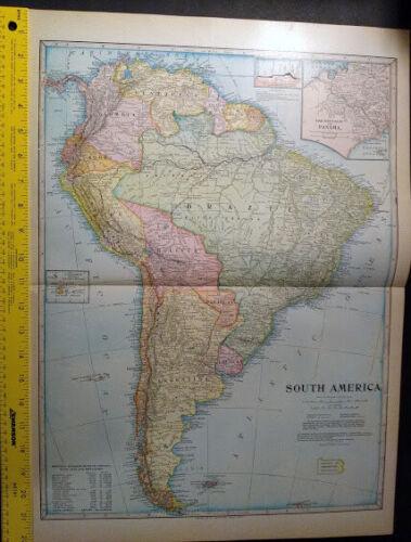 1904 South America Monarch Standard Atlas Map 16 inch x 22  inch Fine Color M67