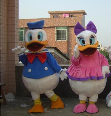 2pcs Donald And Daisy Duck Mascot Costume Halloween Adults Party Fancy Dress - Donald Duck And Daisy Costumes