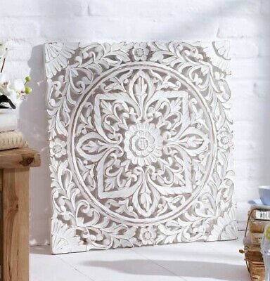 Deko Wandobjekt Holz Ornamentik weiß MDF Wandbild fein geschnitzt im Shabby Chic