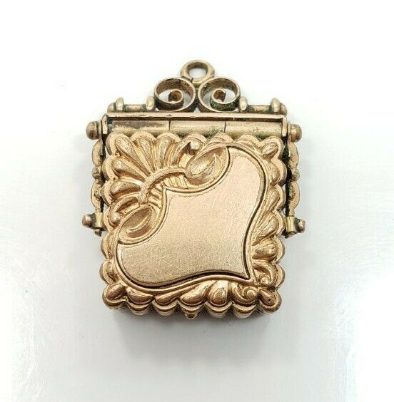 Beautiful Vintage Victorian Yellow Gold Filled Detailed Locket Fob Charm Pendant