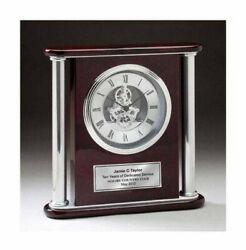 Clock Large Chrome Engraved Gear Clock Column Tower Cherry Wood Da Vinci Silver