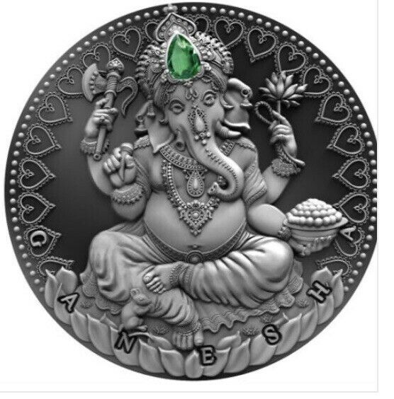 2019 Cameroon 2.000 Francs World Cultures GANESHA 2 Oz Silver Proof Coin Agate