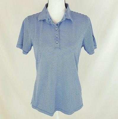 Fennec Womens Top Size Medium Blue White Striped Active Polo Golf Quick Dry O67