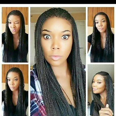 Black Braided Wig (Long Synthetic Lace Front Wig Braided Twist Crochet Braid Wig for Black Women)