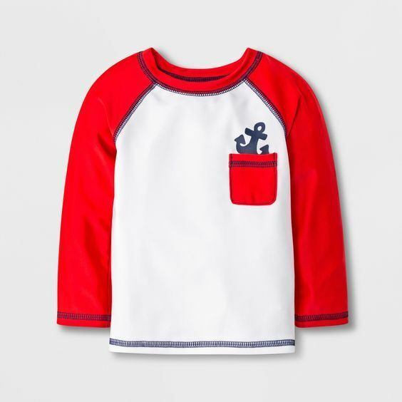 Cat & Jack Baby Boys' Anchor Pocket Rash Guard -Red 3-6M Baby