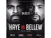 Haye vs bellew boxing tickets x 2 block 111 Great Seats