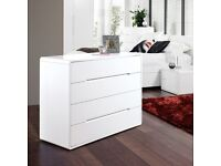 DWELL Monza White 4 x Drawer Chest of Drawers and 2 x Bedside Units/Tables/Cabinets £847
