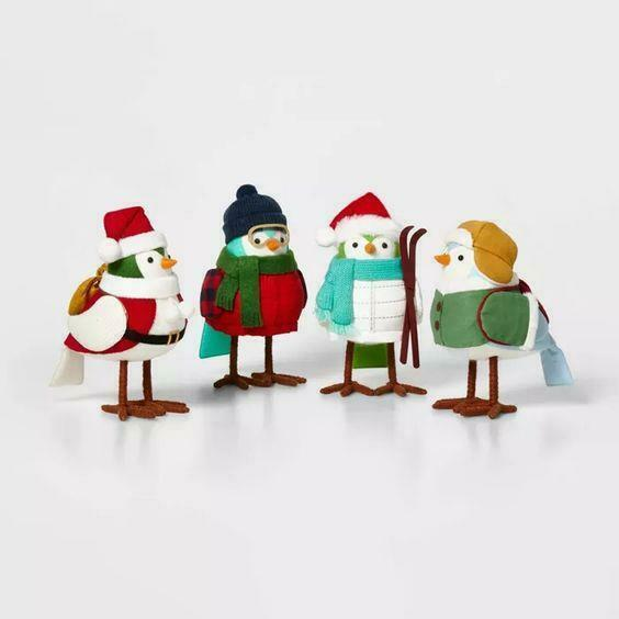 New 2020 Spritz Fabric 4 Bird Set Holiday Target Wondershop NIP Outdoorsy